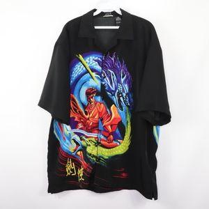 90s Mens Large Japanese Anime Print Button Shirt
